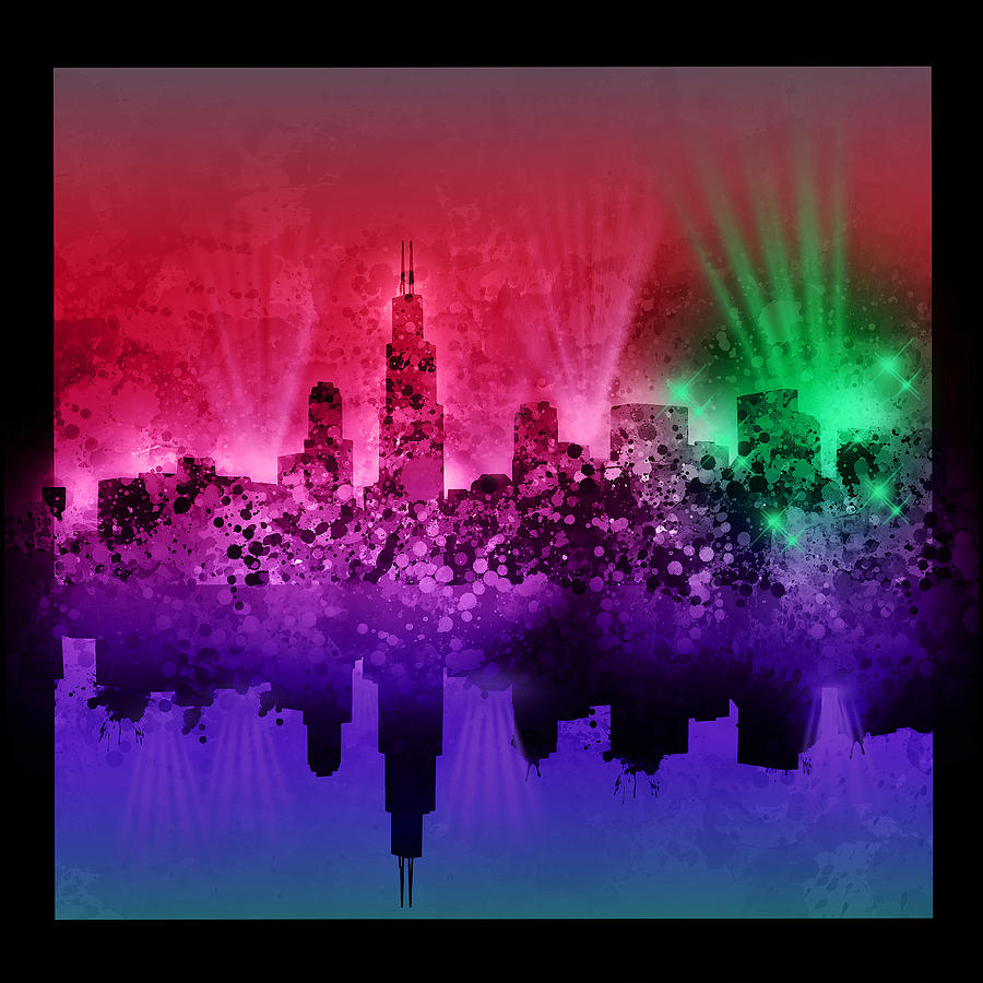 Chicago Skyline Painting - Chicago Skyline Abstract 4 by Bekim M