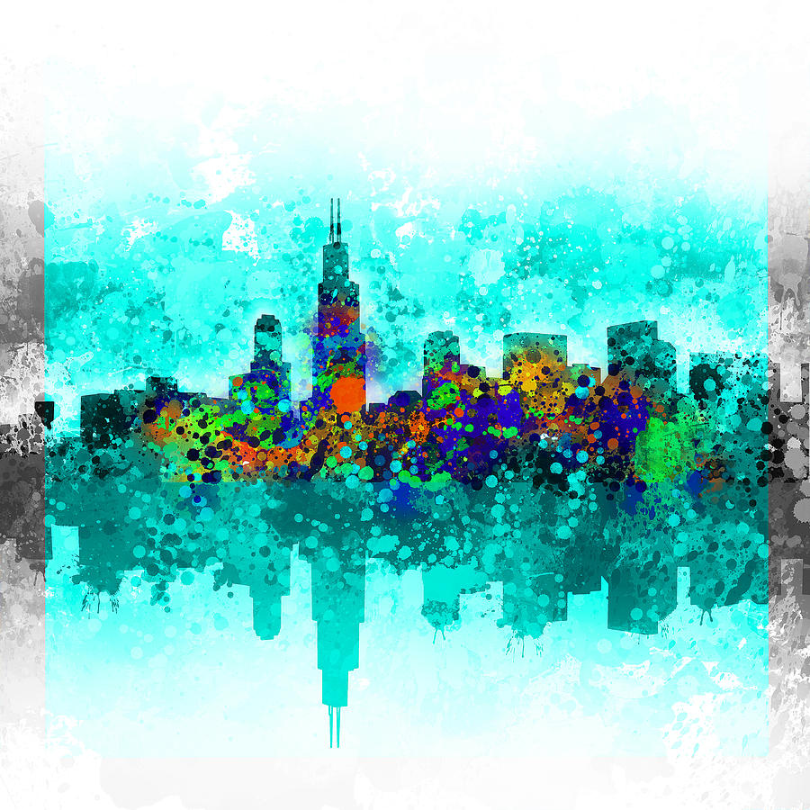 Chicago Skyline Abstract Painting By Bekim Art