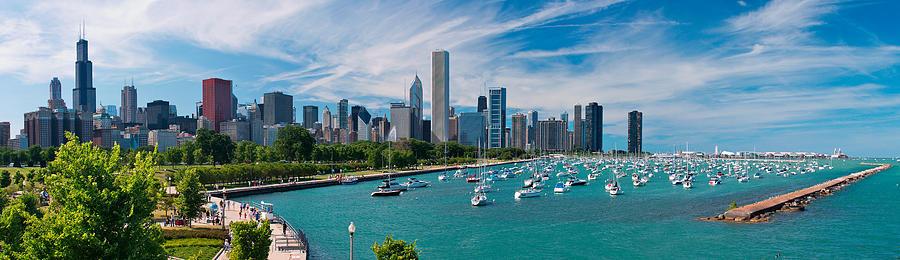 Chicago Photograph - Chicago Skyline Daytime Panoramic by Adam Romanowicz