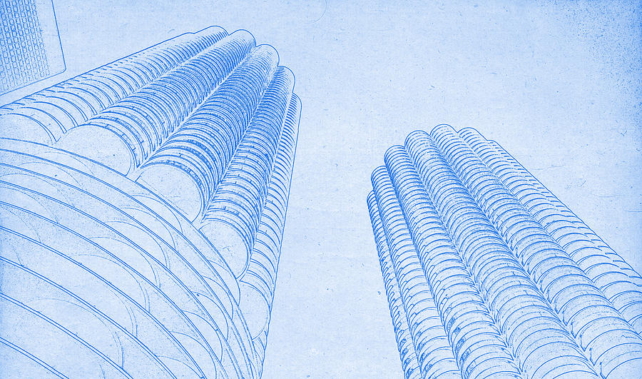Chicago skyline architecture marina towers blueprint digital art chicago skyline digital art chicago skyline architecture marina towers blueprint by motionage designs malvernweather Images