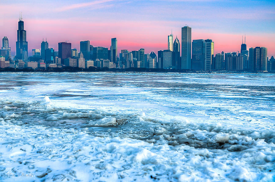 Buildings Photograph - Chicago Skyline At Dawn - Lake Michigan 3-9-14 by Michael  Bennett