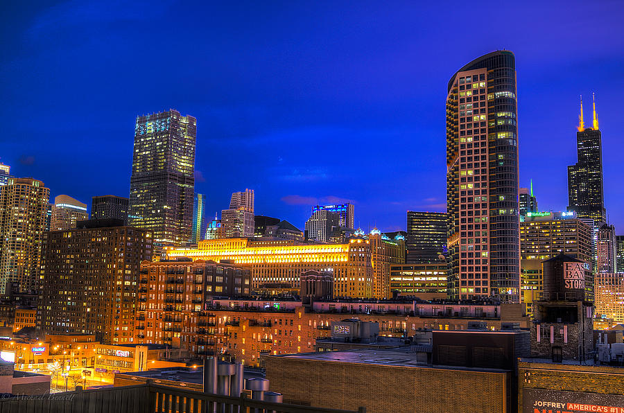 Buildings Photograph - Chicago Skyline At Dusk - Blue Hour Willis Tower by Michael  Bennett