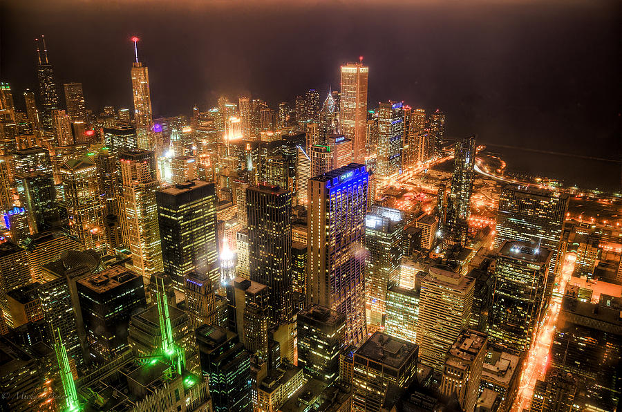 Buildings Photograph - Chicago Skyline At Night - Hancock And Trump by Michael  Bennett