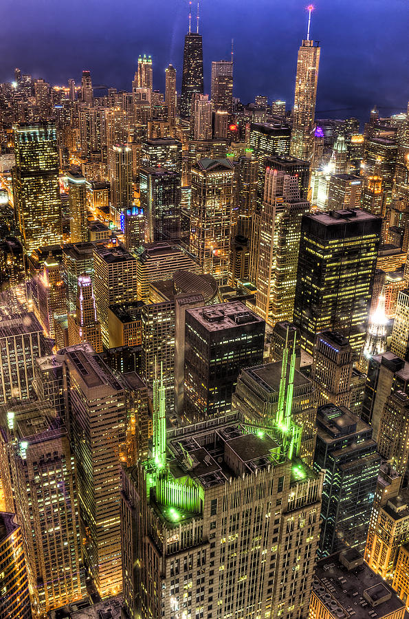 Buildings Photograph - Chicago Skyline At Night 1 by Michael  Bennett