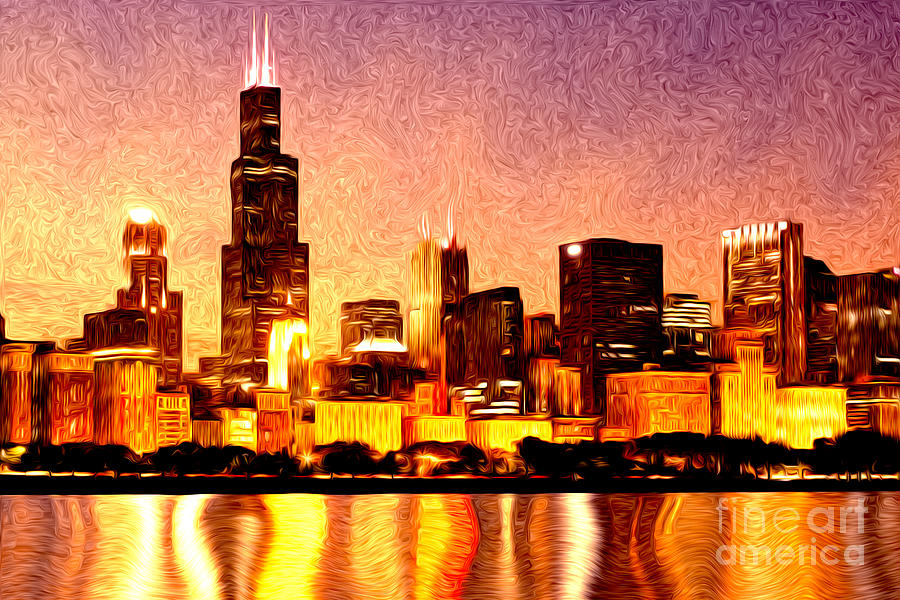 Chicago skyline at night digital painting photograph by for Chicago mural artist