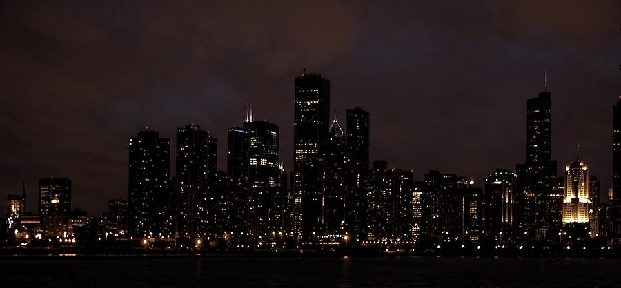 Chicago Photograph - Chicago Skyline At Night by Ken Smith