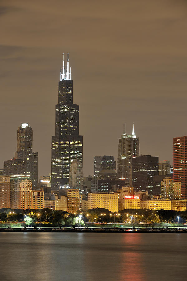 Chicago Skyline Photograph - Chicago Skyline At Night by Sebastian Musial