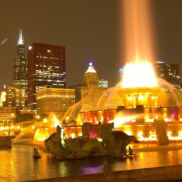 Chicago Photograph - Chicago Skyline At Night With by Paul Velgos