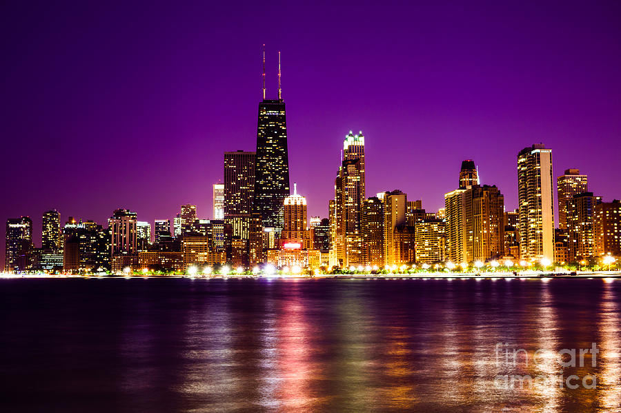 chicago skyline at night with purple sky photograph by