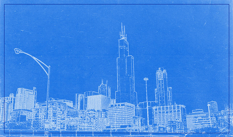 Chicago skyline blueprint digital art by celestial images skyline digital art chicago skyline blueprint by celestial images malvernweather Image collections