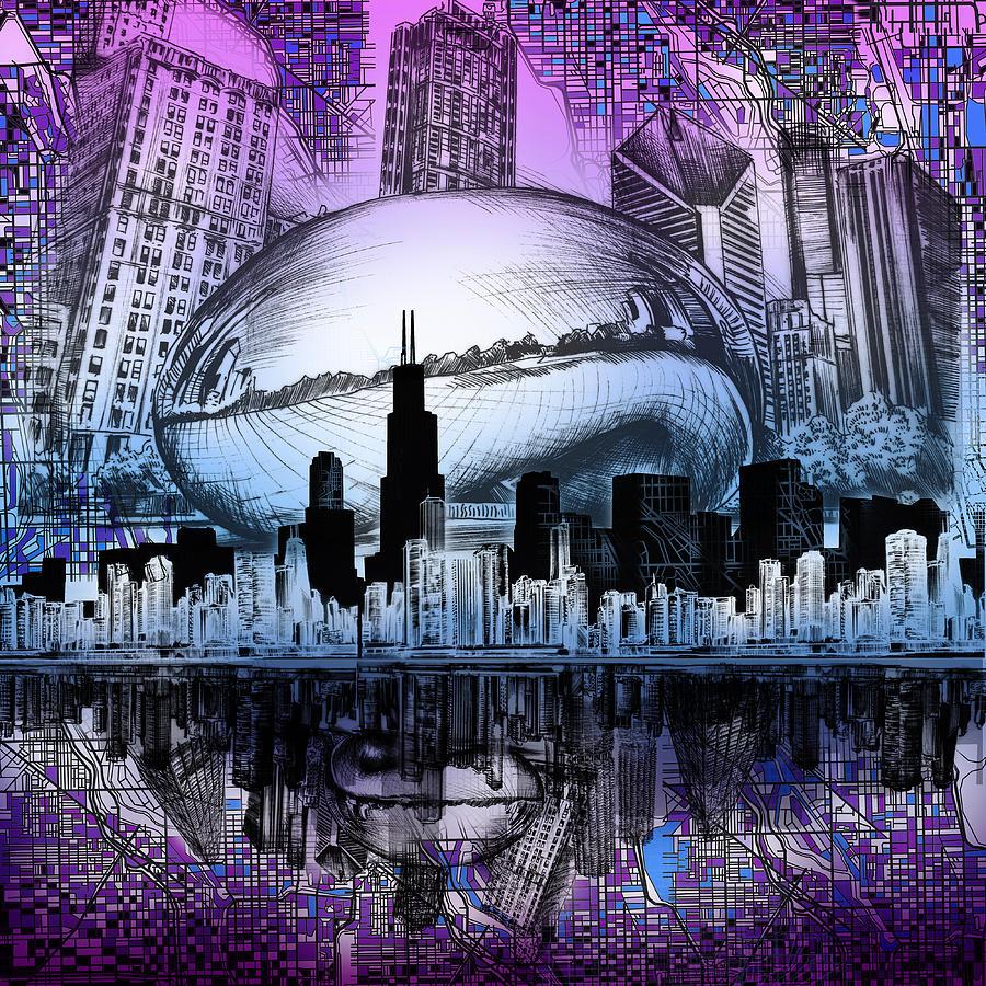 Chicago Skyline Drawing Collage  Digital Art By Bekim Art - Chicago map artwork