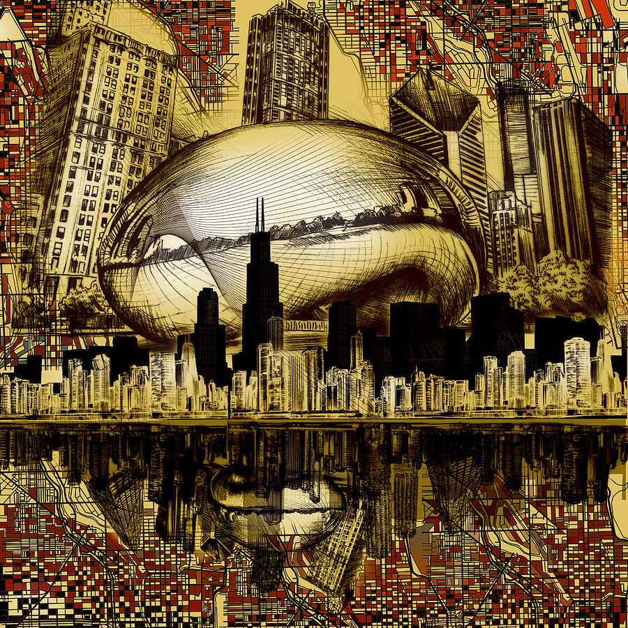 Chicago Skyline Drawing Collage 3 Digital Art By Bekim Art