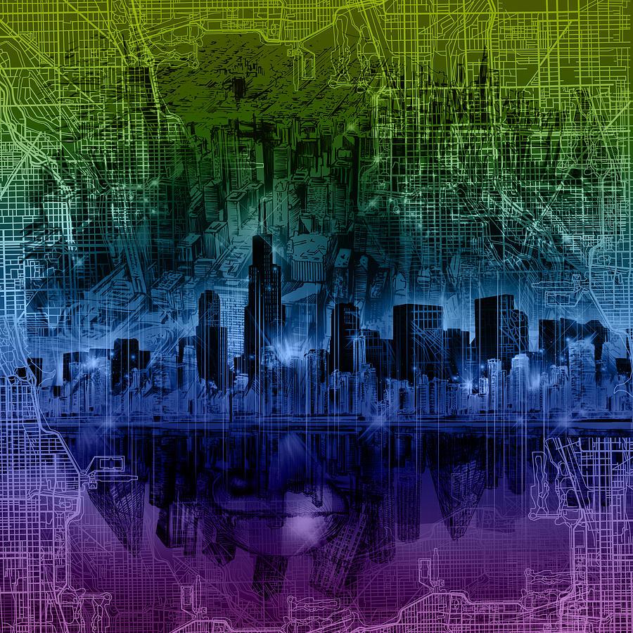 Chicago Skyline Painting - Chicago Skyline Gradient Version by Bekim M