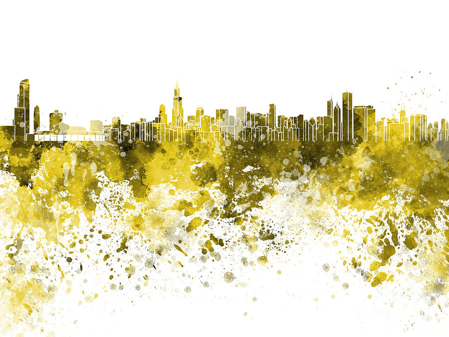 Skyline In Yellow Watercolor On White Background Painting by Pablo ...