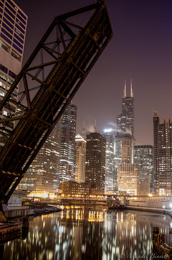 Chicago Photograph - Chicago Skyline Over Chicago River by Michael  Bennett