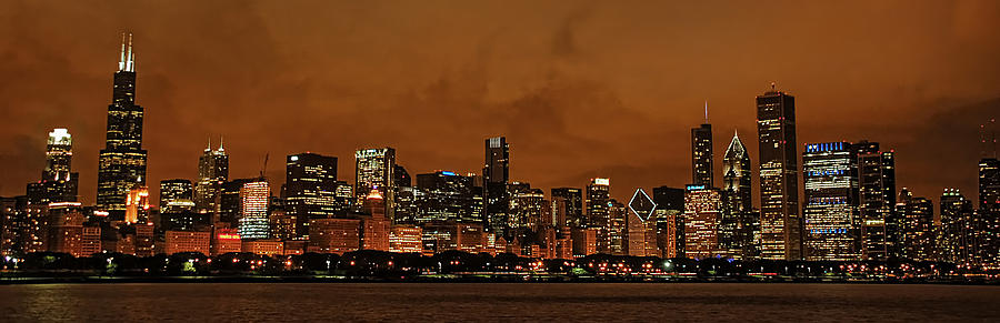 Chicago Photograph - Chicago Skyline Panorama At Dusk by Ken Smith