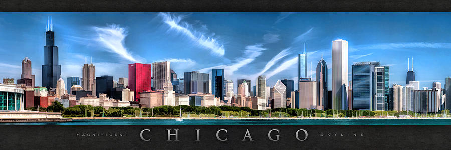 Chicago Painting - Chicago Skyline Panorama Poster by Christopher Arndt