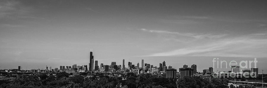 Chicago Skyline Panoramic Black And White Photograph
