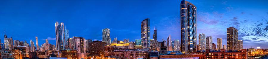 Chicago Skyline Photograph - Chicago Skyline Photography - Blue Hour Cityscape by Michael  Bennett