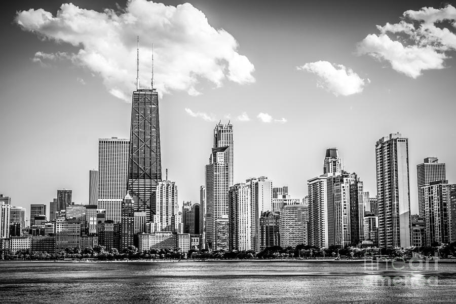 2012 Photograph - Chicago Skyline Picture in Black and White by Paul Velgos