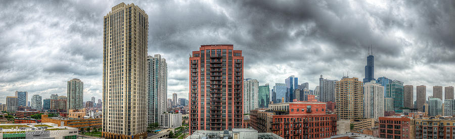 Architecture Photograph - Chicago Skyline - Sears Tower 6 Shot Panorama by Michael  Bennett