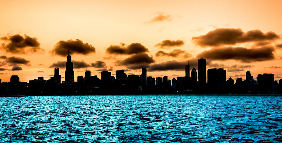 Chicago Skyline Silhouette Photograph By Semmick Photo