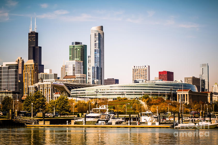 America Photograph - Chicago Skyline with Soldier Field by Paul Velgos