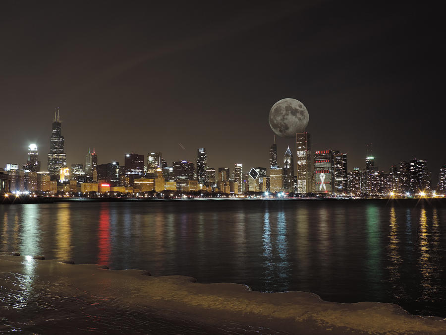 Chicago Skyline With The Moon 3 Photograph By Cityscape