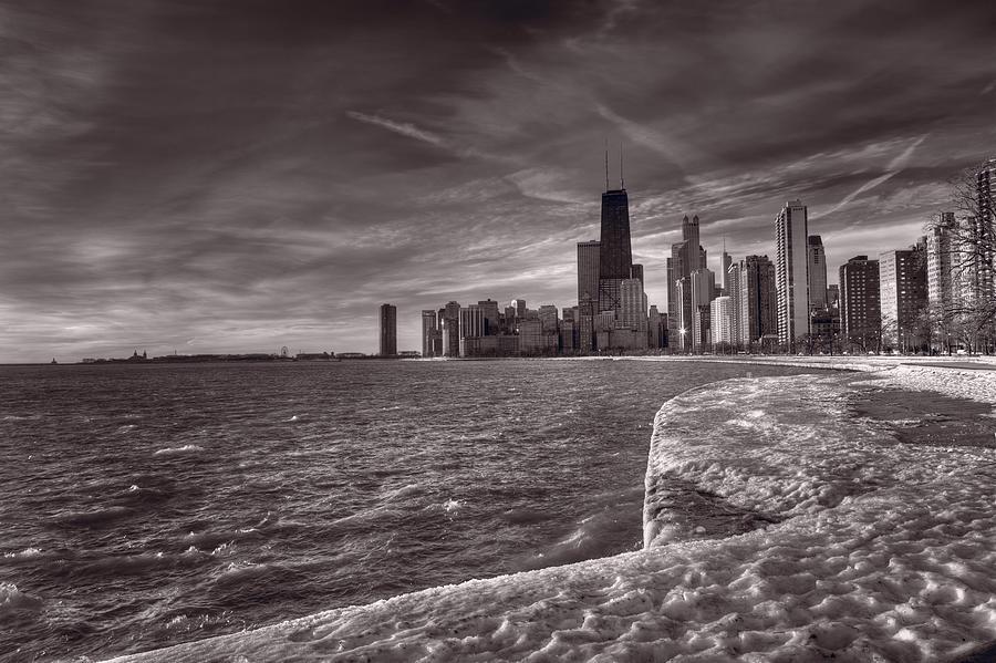 Chicago Photograph - Chicago Sunrise Bw by Steve Gadomski