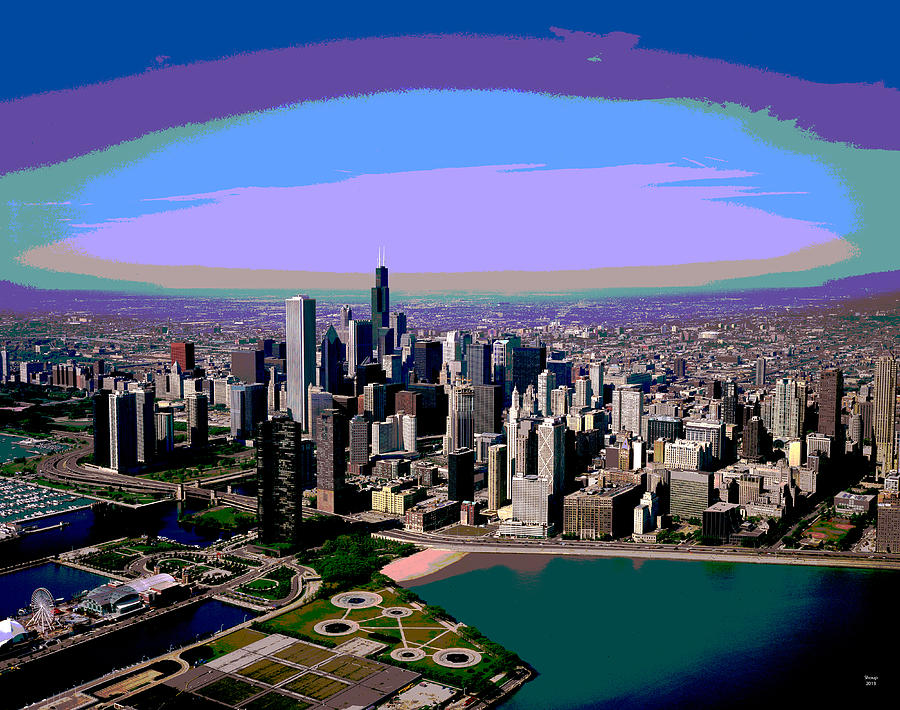 Chicago Mixed Media - Chicago Sunset by Charles Shoup