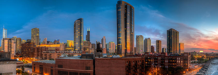 Chicago Photograph - Chicago Sunset Photogtaphy by Michael  Bennett