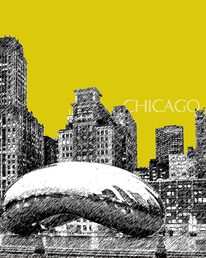 Architecture Digital Art - Chicago The Bean - Mustard by DB Artist