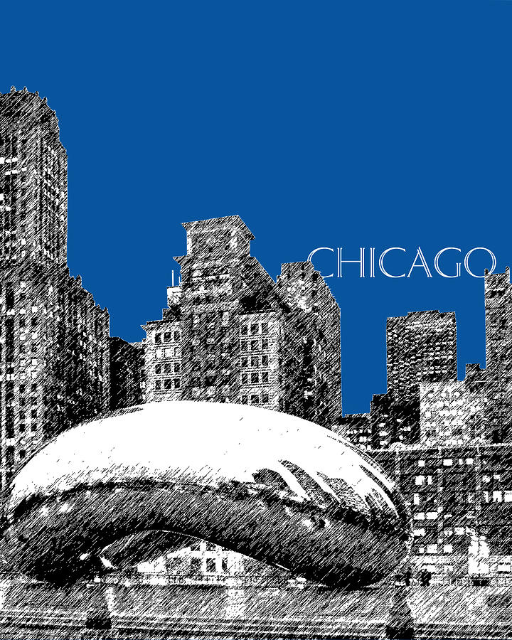 Architecture Digital Art - Chicago The Bean - Royal Blue by DB Artist