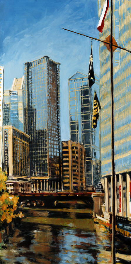 Robert Reeves Painting - Chicago - The River From The East by Robert Reeves