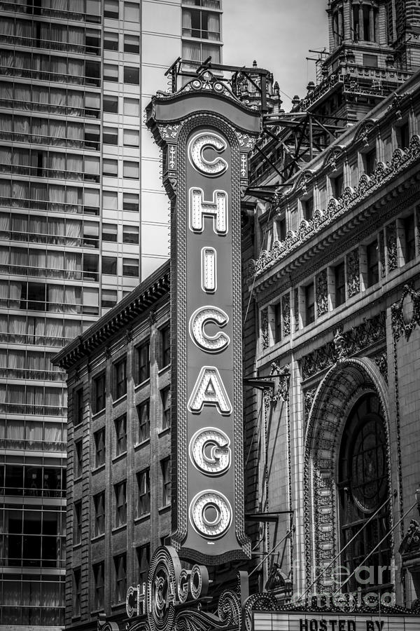 America Photograph - Chicago Theater Sign in Black and White by Paul Velgos