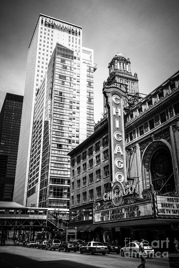 America Photograph - Chicago Theatre Black and White Picture by Paul Velgos