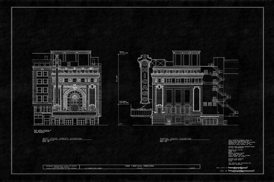 Chicago theatre blueprint 4 photograph by andrew fare chicago theatre photograph chicago theatre blueprint 4 by andrew fare malvernweather Images