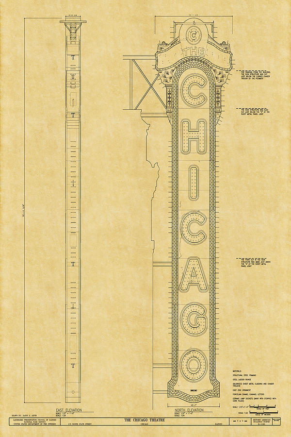 Chicago theatre blueprint photograph by andrew fare chicago theatre photograph chicago theatre blueprint by andrew fare malvernweather Images