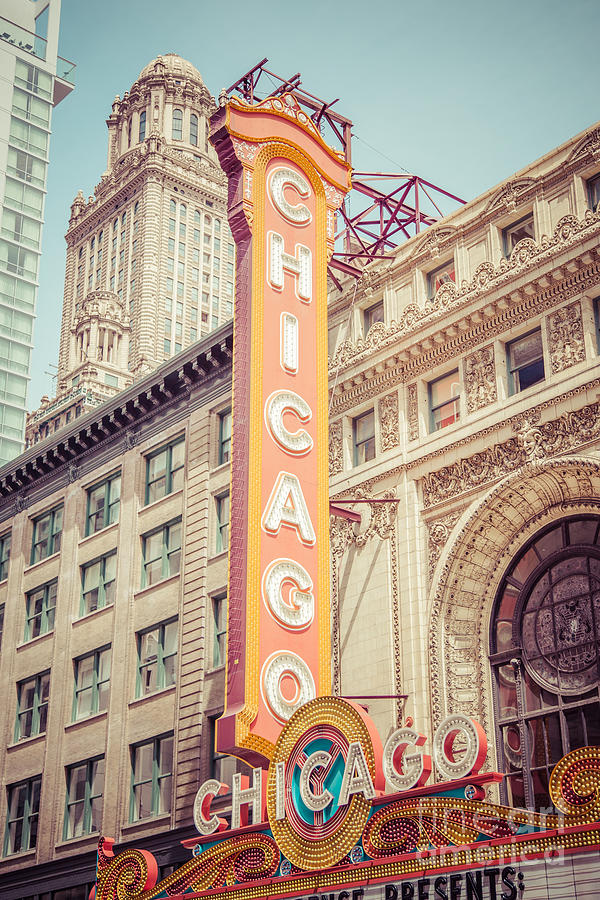 America Photograph - Chicago Theatre Retro Vintage Picture by Paul Velgos