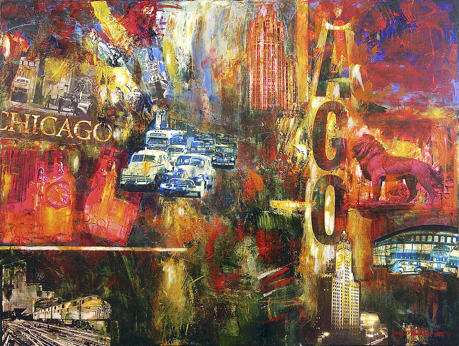 Chicago vintage art old chicago painting by joseph catanzaro for Chicago mural artist