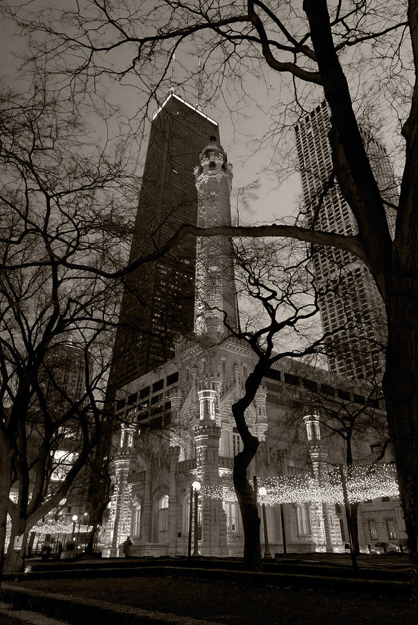 Ave Photograph - Chicago Water Tower B W by Steve Gadomski