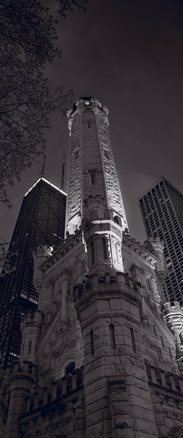 Chicago Photograph - Chicago Water Tower Panorama B W by Steve Gadomski