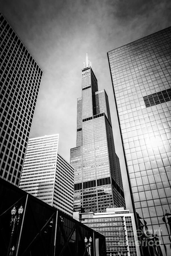 America Photograph - Chicago Willis-sears Tower In Black And White by Paul Velgos