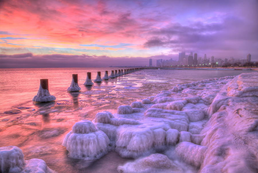 chicago winter chicago winter sunrise photograph by leslie mclain