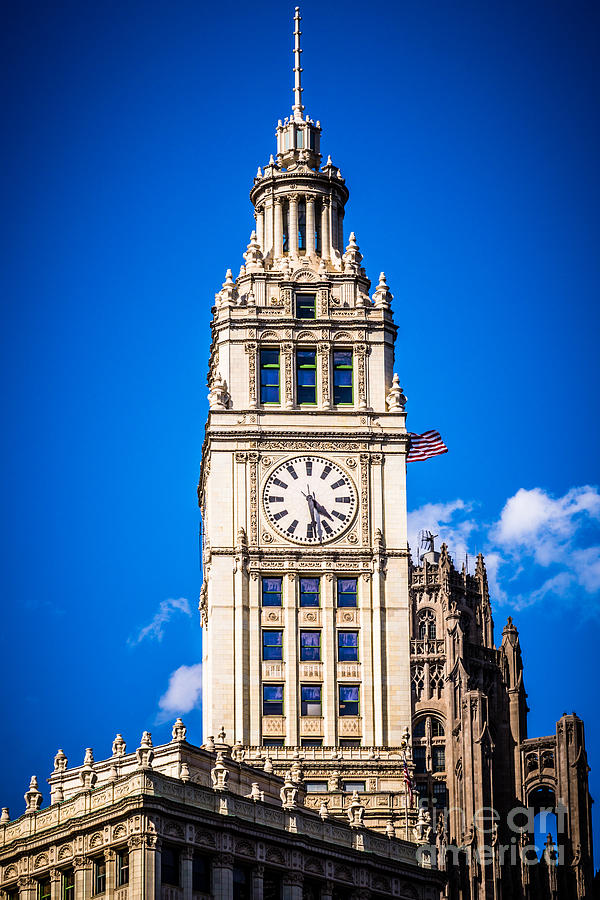 Chicago Wrigley Building Clock Photograph By Paul Velgos