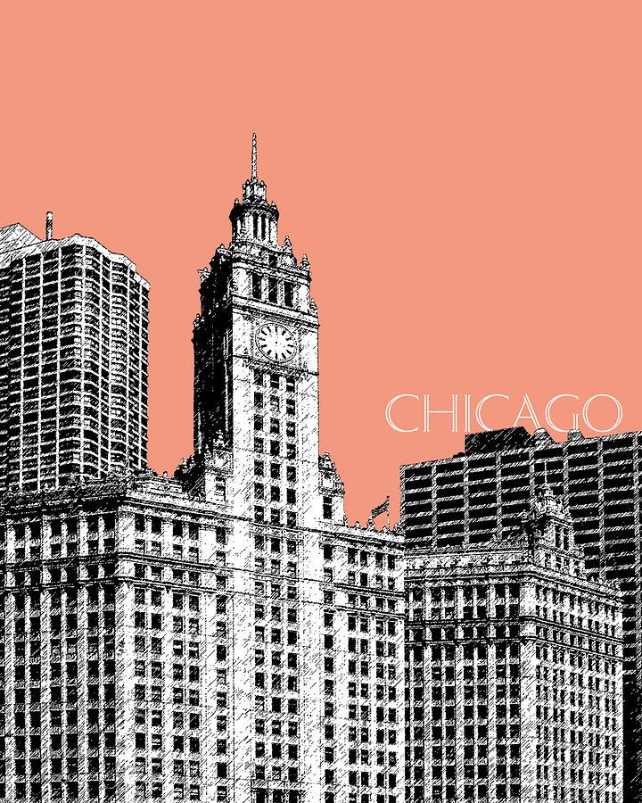 Architecture Digital Art - Chicago Wrigley Building - Salmon by DB Artist