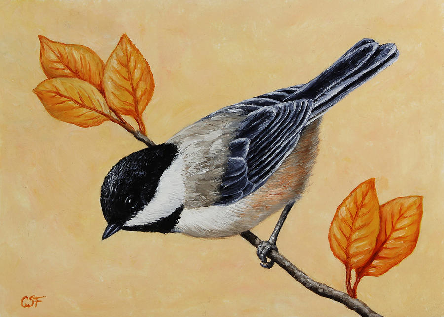 Bird Painting - Chickadee And Autumn Leaves by Crista Forest