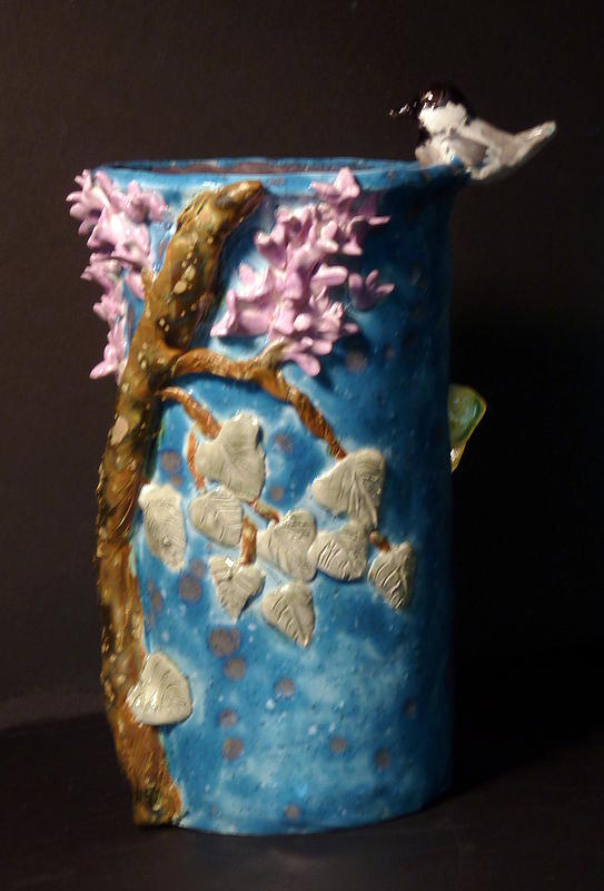 Lilac Sculpture - Chickadee Lilac Butterfly Vase Hand Built In The Usa by Debbie Limoli