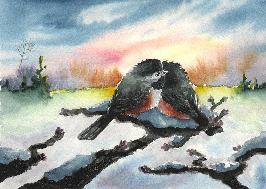 Chickadees Painting - Chickadee Sunset Snuggle by Sean Seal