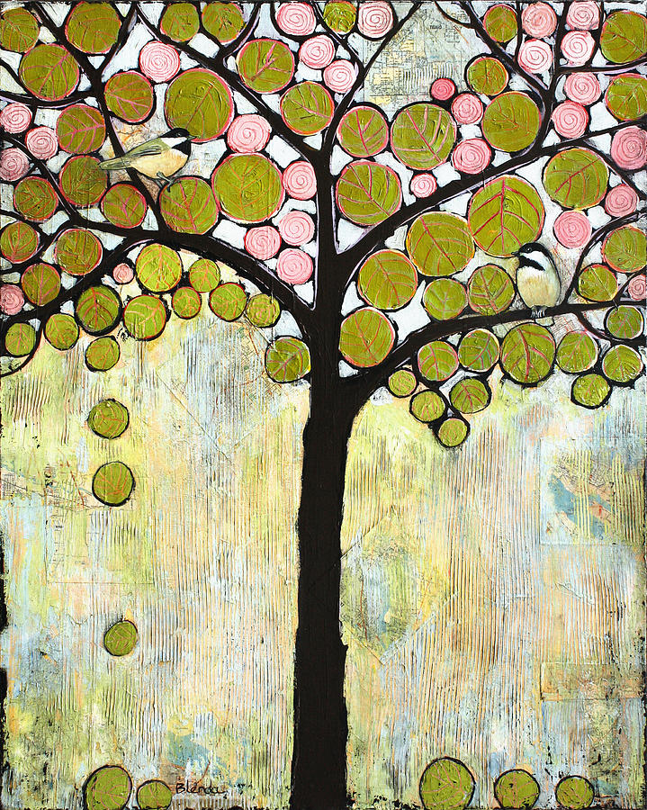 Chickadee tree painting by blenda studio for Imagenes de cuadros abstractos para pintar